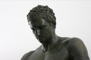 L'Apoxyómenos di Lussino, dettaglio del volto., I sec a.C.-II sec. d.C.